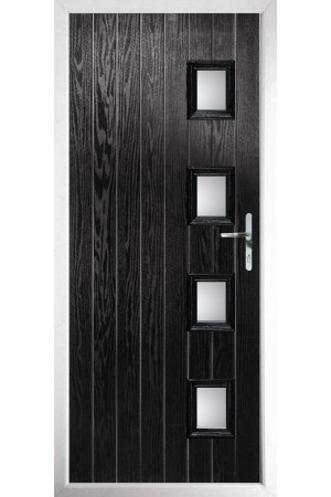 The Portsmouth Black Composite Door with Clear Glazing