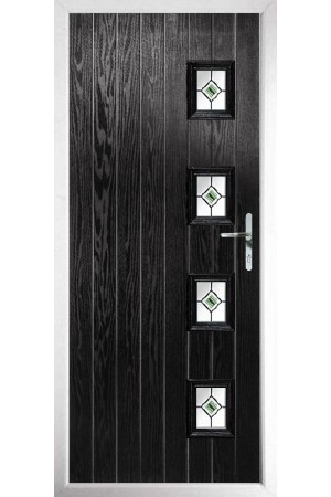 The Portsmouth Black Composite Door with Green Fusion Ellipse