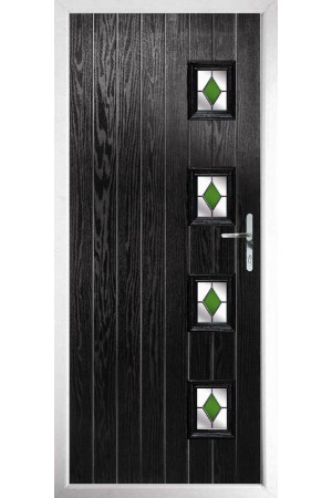 The Portsmouth Black Composite Door with Green Diamonds