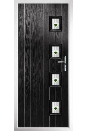 The Portsmouth Black Composite Door with Green Murano