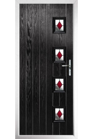 The Portsmouth Black Composite Door with Red Diamonds