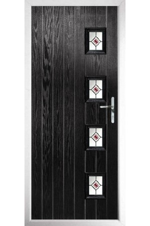 The Portsmouth Black Composite Door with Red Fusion Ellipse