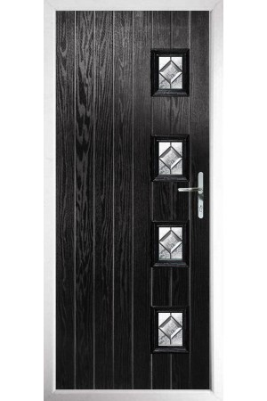 The Portsmouth Black Composite Door with Simplicity