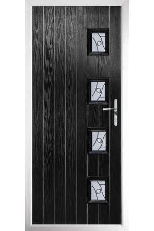 The Portsmouth Black Composite Door with Zinc Art Abstract