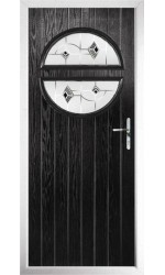 The Queensbury Black Composite Door with Black Murano
