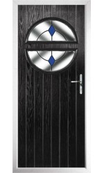 The Queensbury Black Composite Door with Blue Diamonds