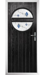 The Queensbury Black Composite Door with Blue Murano