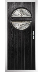 The Queensbury Black Composite Door with Brass Art Clarity