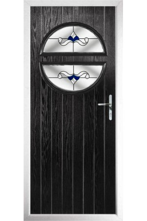 The Queensbury Black Composite Door with Blue Crystal Bohemia