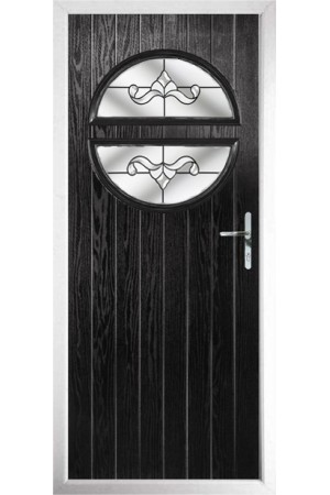 The Queensbury Black Composite Door with Clear Crystal Bohemia