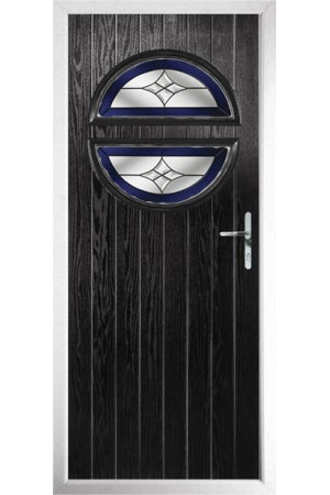 The Queensbury Black Composite Door with Blue Crystal Harmony