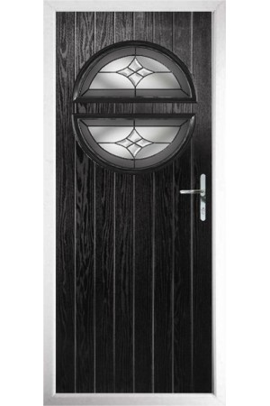 The Queensbury Black Composite Door with Crystal Harmony Frost