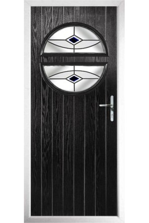 The Queensbury Black Composite Door with Black Fusion Ellipse