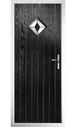 The Rutland Black Composite Door with Black Diamonds