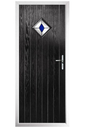 The Rutland Black Composite Door with Blue Diamonds