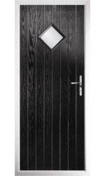 The Rutland Black Composite Door with Clear Glazing