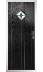 The Rutland Black Composite Door with Green Diamonds