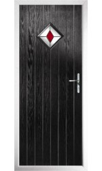 The Rutland Black Composite Door with Red Diamonds