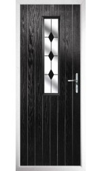 The Surrey Black Composite Door with Black Diamonds
