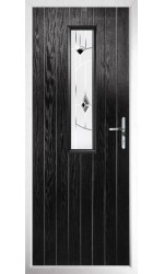 The Surrey Black Composite Door with Black Murano