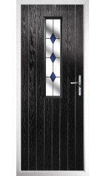 The Surrey Black Composite Door with Blue Diamonds