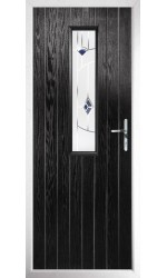 The Surrey Black Composite Door with Blue Murano