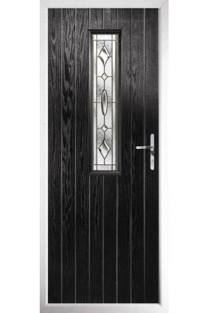 The Surrey Black Composite Door with Brass Art Clarity
