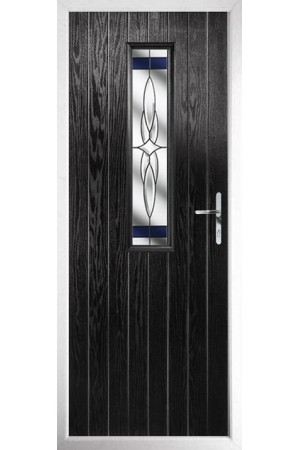 The Surrey Black Composite Door with Blue Crystal Harmony