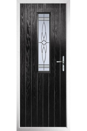 The Surrey Black Composite Door with Crystal Harmony Frost