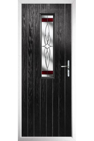 The Surrey Black Composite Door with Red Crystal Harmony