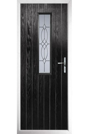 The Surrey Black Composite Door with Flair Glazing