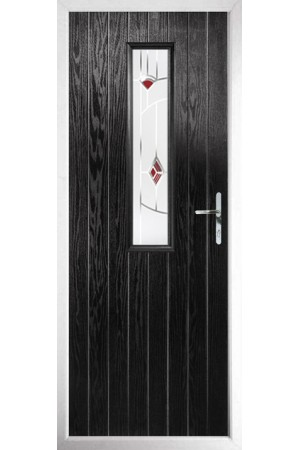 The Surrey Black Composite Door with Red Murano
