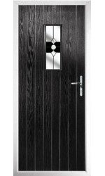The Tyne & Wear Black Composite Door with Black Crystal Bohemia
