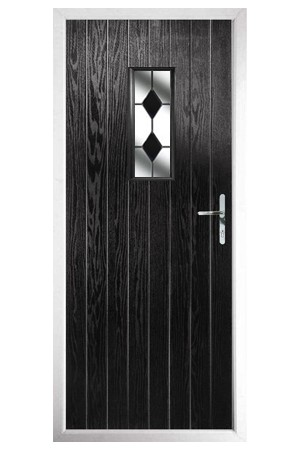 The Tyne & Wear Black Composite Door with Black Diamonds