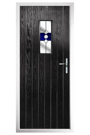 The Tyne & Wear Black Composite Door with Blue Crystal Bohemia