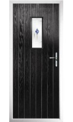 The Tyne & Wear Black Composite Door with Blue Murano