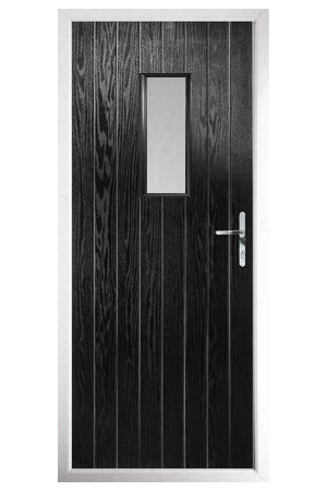 The Tyne & Wear Black Composite Door with Clear Glazing