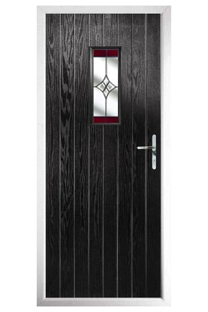 The Tyne & Wear Black Composite Door with Red Crystal Harmony