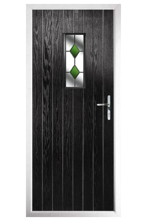 The Tyne & Wear Black Composite Door with Green Diamonds