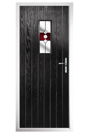 The Tyne & Wear Black Composite Door with Red Crystal Bohemia