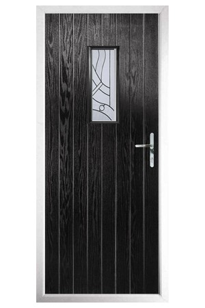 The Tyne & Wear Black Composite Door with Zinc Art Abstract