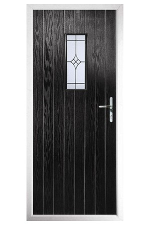 The Tyne & Wear Black Composite Door with Zinc Art Elegance