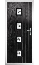 The Uxbridge Black Composite Door with Black Fusion Ellipse