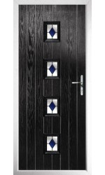 The Uxbridge Black Composite Door with Blue Diamonds