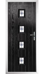 The Uxbridge Black Composite Door with Blue Fusion Ellipse