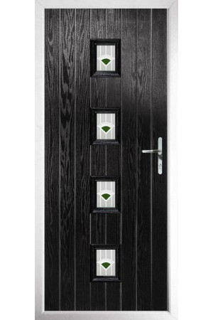 The Uxbridge Black Composite Door with Green Murano