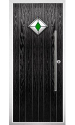 The West Midlands Black Composite Door with Green Diamonds