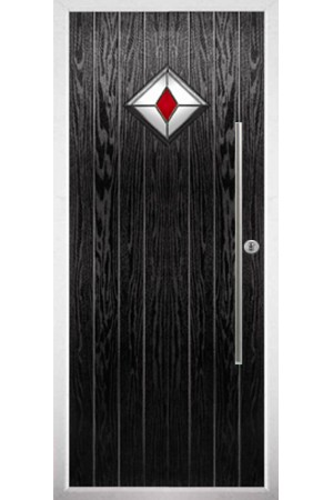 The West Midlands Black Composite Door with Red Diamonds