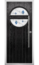 The Xenia Black Composite Door with Blue Murano