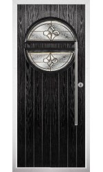 The Xenia Black Composite Door with Brass Art Clarity